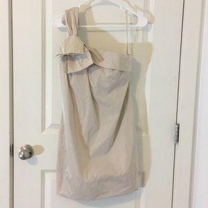Champaign colored one shouldered taffeta dress